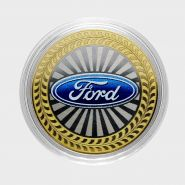10 рублей Ford, серия автомобили мира, цветная,гравировка
