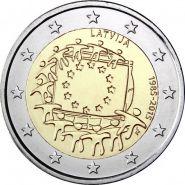 Латвия 2 евро 2015 30 лет флагу Европы UNC