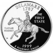 25 центов США 1999г - Делавэр, UNC - Серия Штаты и территории